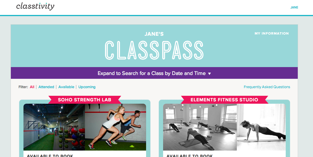 Fake Specs  Fitness Classes Classpass