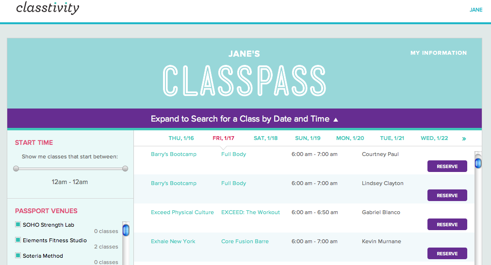 Measurements Classpass  Fitness Classes